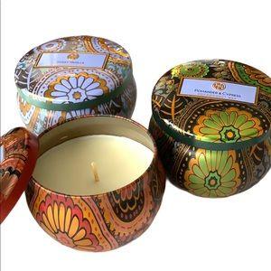 NIB 3 Coconut Soy Wax Scented Candles & Boho Tins